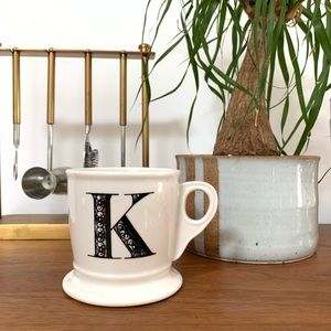 "Anthropologie Monogram Initial Letter ""K"" Mug"